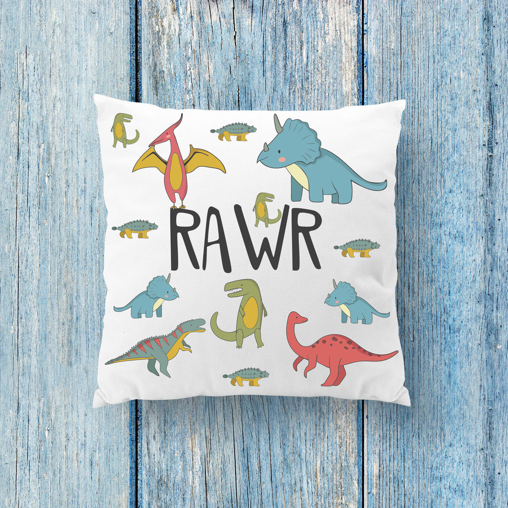 Rawr Dinosaur Pillow - Kids Room Pillow - Rebels and Roses Boutique