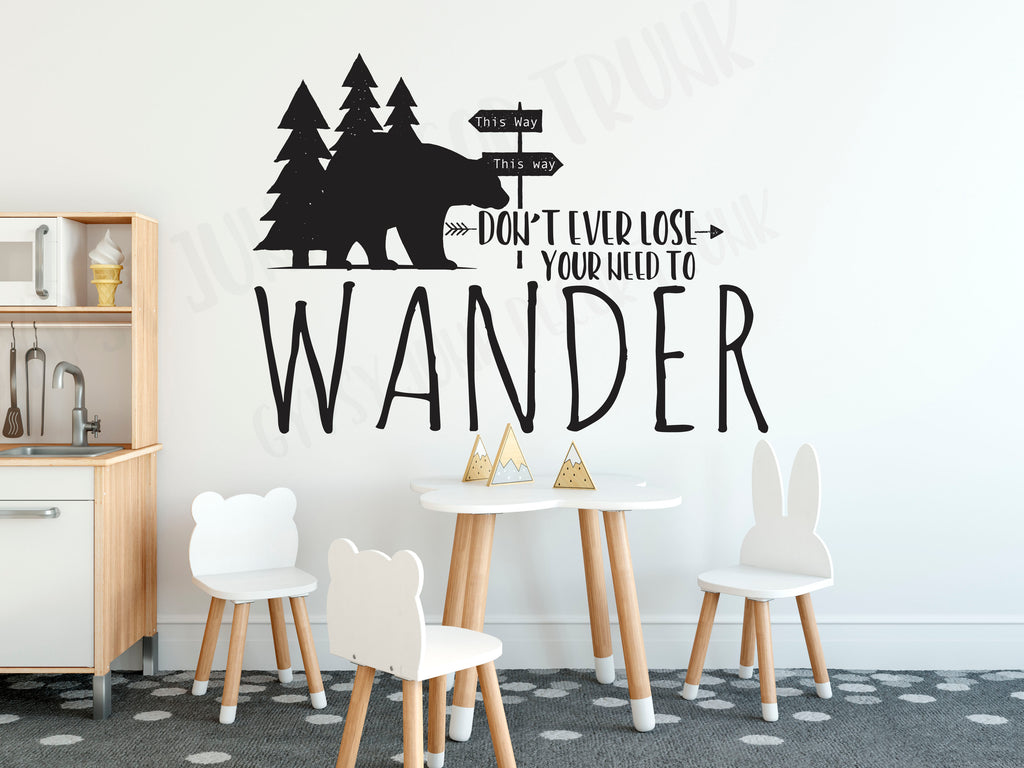 Don't Ever Lose Your Need to Wander - Woodland Boys Room Wall Decal - Rebels and Roses Boutique