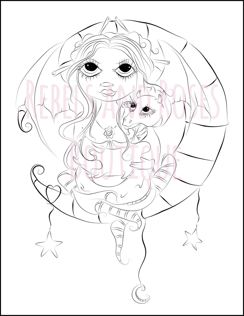 Dragon Lullaby Fairy Coloring Page - Digital Download - Rebels and Roses Boutique