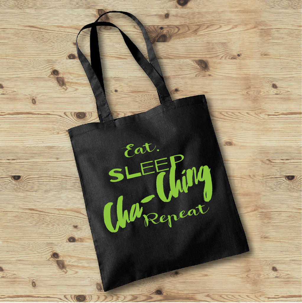 Eat Sleep Cha-Ching Repeat, Mom Life Tote Bag, Tote Bags for Moms - Rebels and Roses Boutique