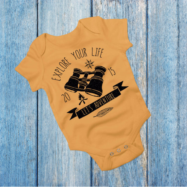 Explore Your Life - Yellow Camping/Outdoors Boho Baby Outfit - Gypsy Junk Clothing Trunk