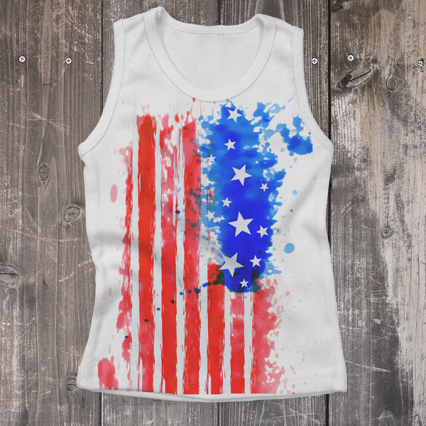 Patriotic Flag Printed Kids Tank Top - Rebels and Roses Boutique