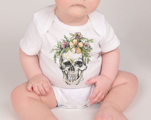 Floral Skull Baby Top - Short Sleeved Bodysuit - Rebels and Roses Boutique