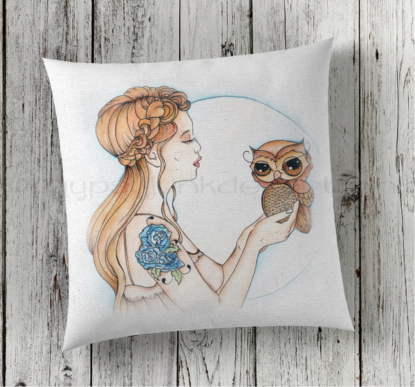 A Girl and Her Owl Pillow - Fantasy Pillow - Retro Pillow - Rebels and Roses Boutique