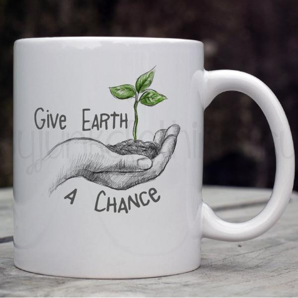 Earth Day Mug - Give Earth A Chance Coffee Mug - World Movement Mugs - Gypsy Junk Clothing Trunk