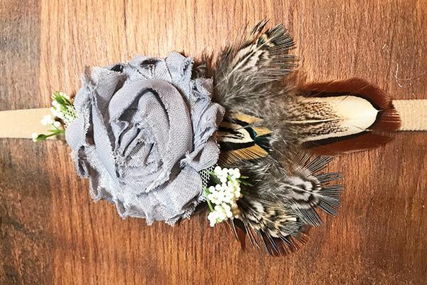 Gray Chiffon Floral and Feathered Baby Headband - Rebels and Roses Boutique