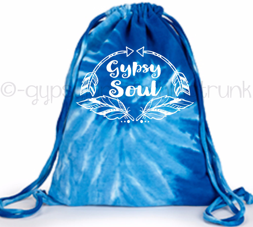 Gypsy Soul Tie Dye Tote Bag - Boho Tote Bag - Blue Swirl - Rebels and Roses Boutique