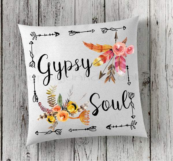 Gypsy Soul Quote Pillow - Floral Boho Pillows - Rebels and Roses Boutique