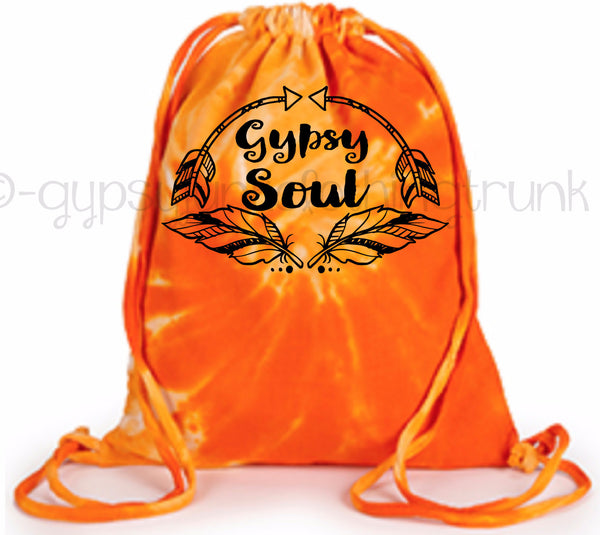Gypsy Soul Tie Dye Tote Bag - Boho Tote Bag - Orange Swirl - Rebels and Roses Boutique