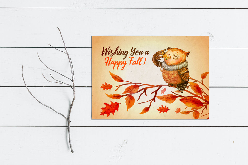 Happy Fall Greetings - Owl Greeting Card - Rebels and Roses Boutique