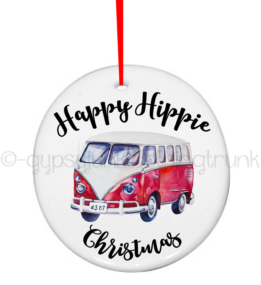 Happy Hippie Christmas Ornament