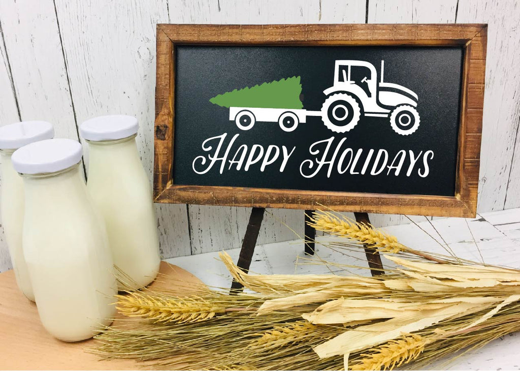 Happy Holidays Tractor Sign - Chalkboard Farmhouse Sign - Rebels and Roses Boutique