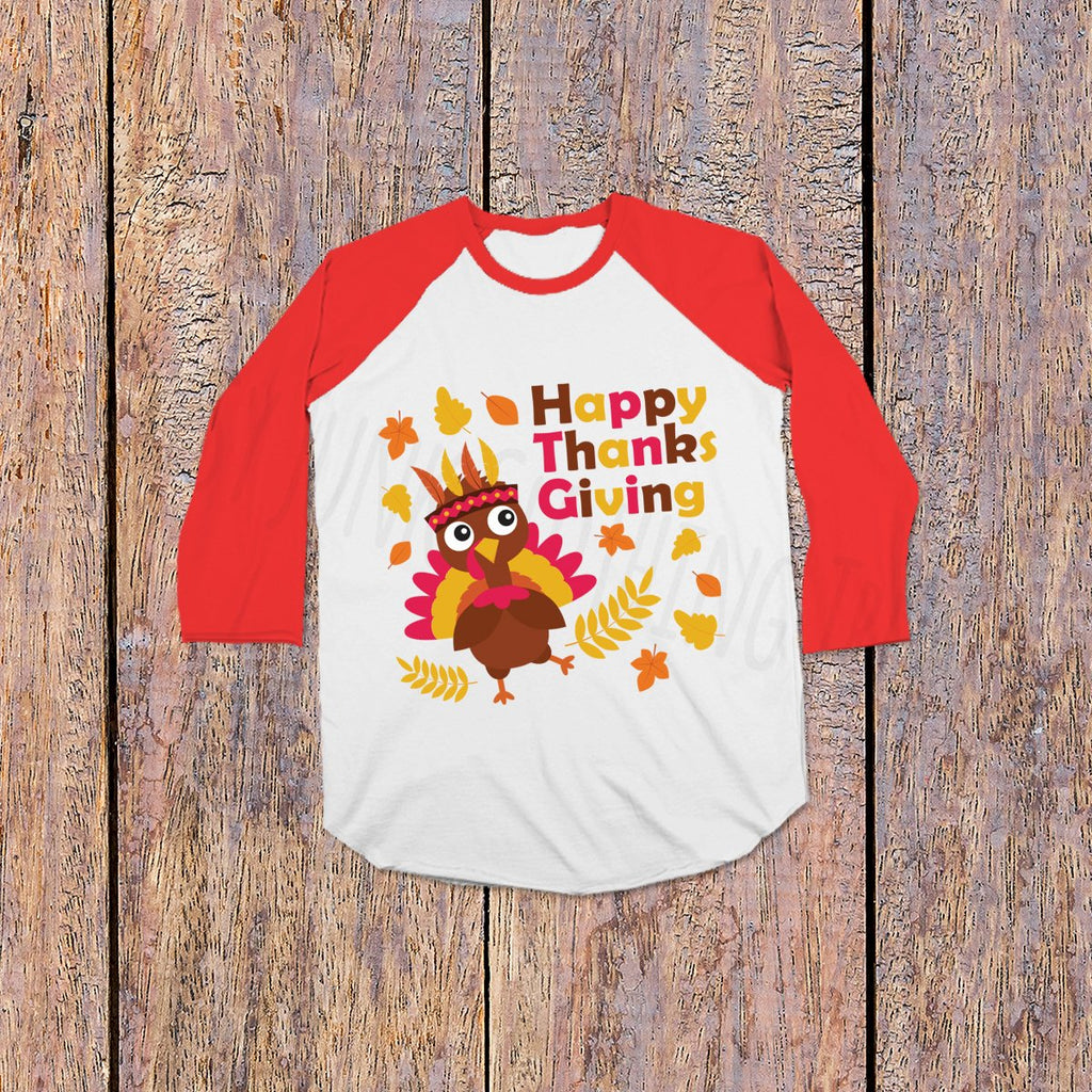 Turkey Day Shirt- Thanksgiving Shirts for Kids - Red and White - Rebels and Roses Boutique