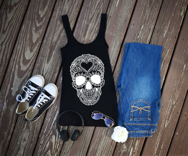 Heart Sugar Skull - Printed Skull Tank Top - Rebels and Roses Boutique