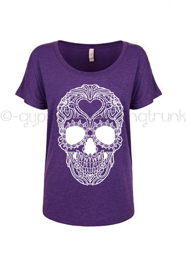 Skull Dolman Tee - Flowy Purple Skull Tee - Rebels and Roses Boutique