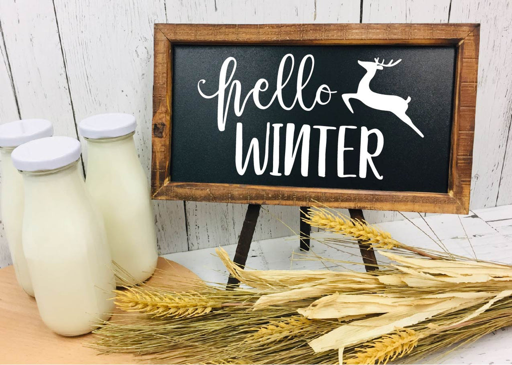 Hello Winter - Chalkboard Farmhouse Sign - Rebels and Roses Boutique
