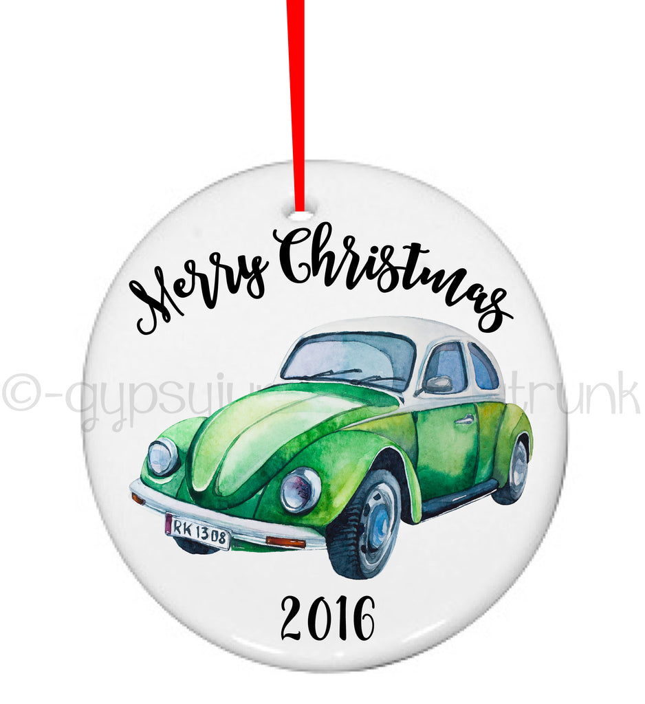 VW Beetle Christmas Ornament - Personalized Ornament - Rebels and Roses Boutique