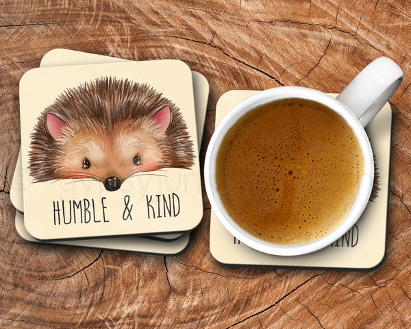 Hedgehog Drink Coasters - Hedgehog Drink Ware - Humble and Kind Quote Coasters - Rebels and Roses Boutique