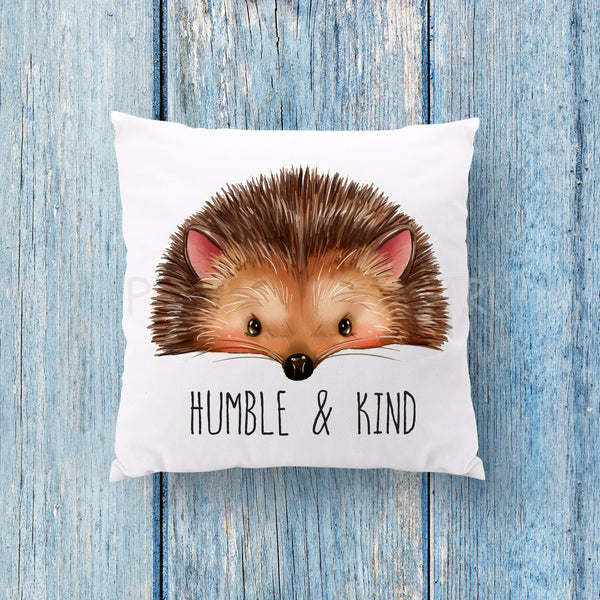 Humble and Kind Hedgehog Woodland Pillow - Boho Pillows - Rebels and Roses Boutique