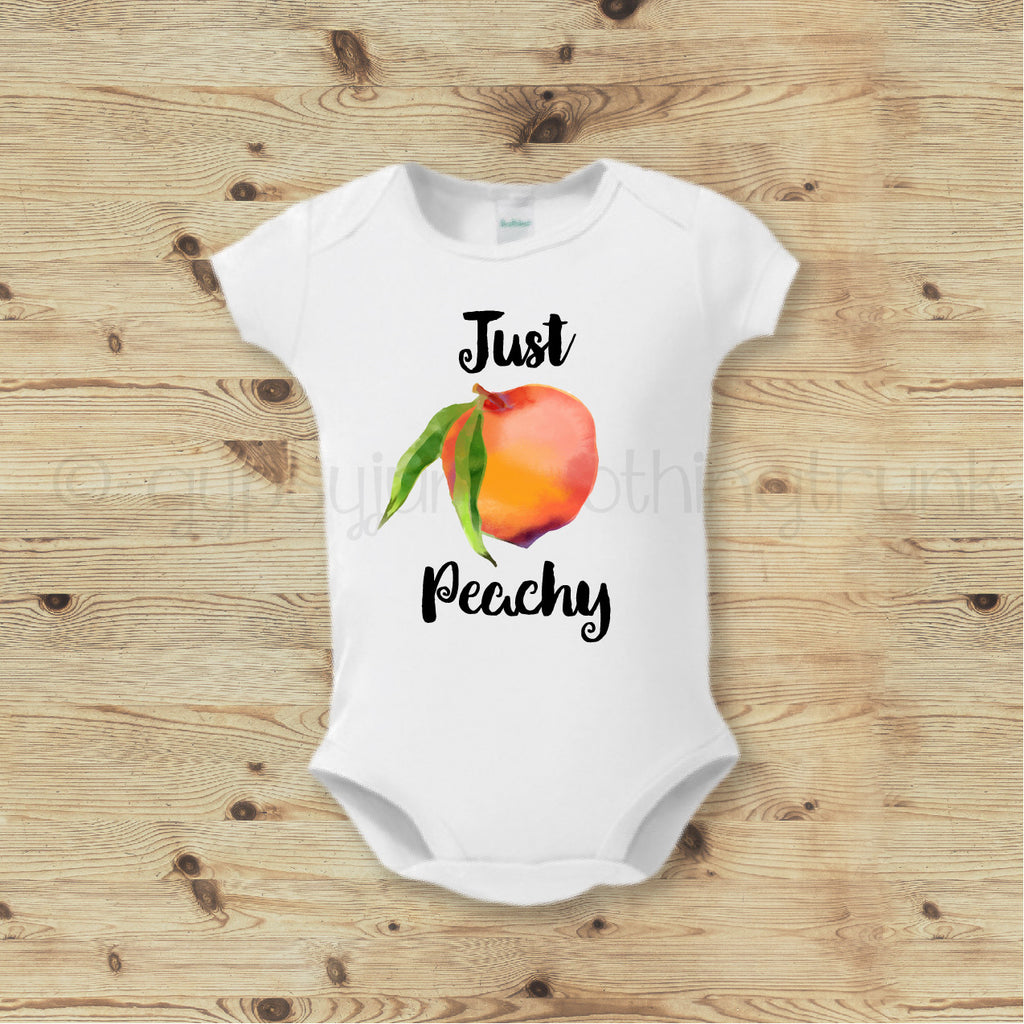 Foodie Baby Top, Foodie Outfit, Just Peachy Top - Rebels and Roses Boutique