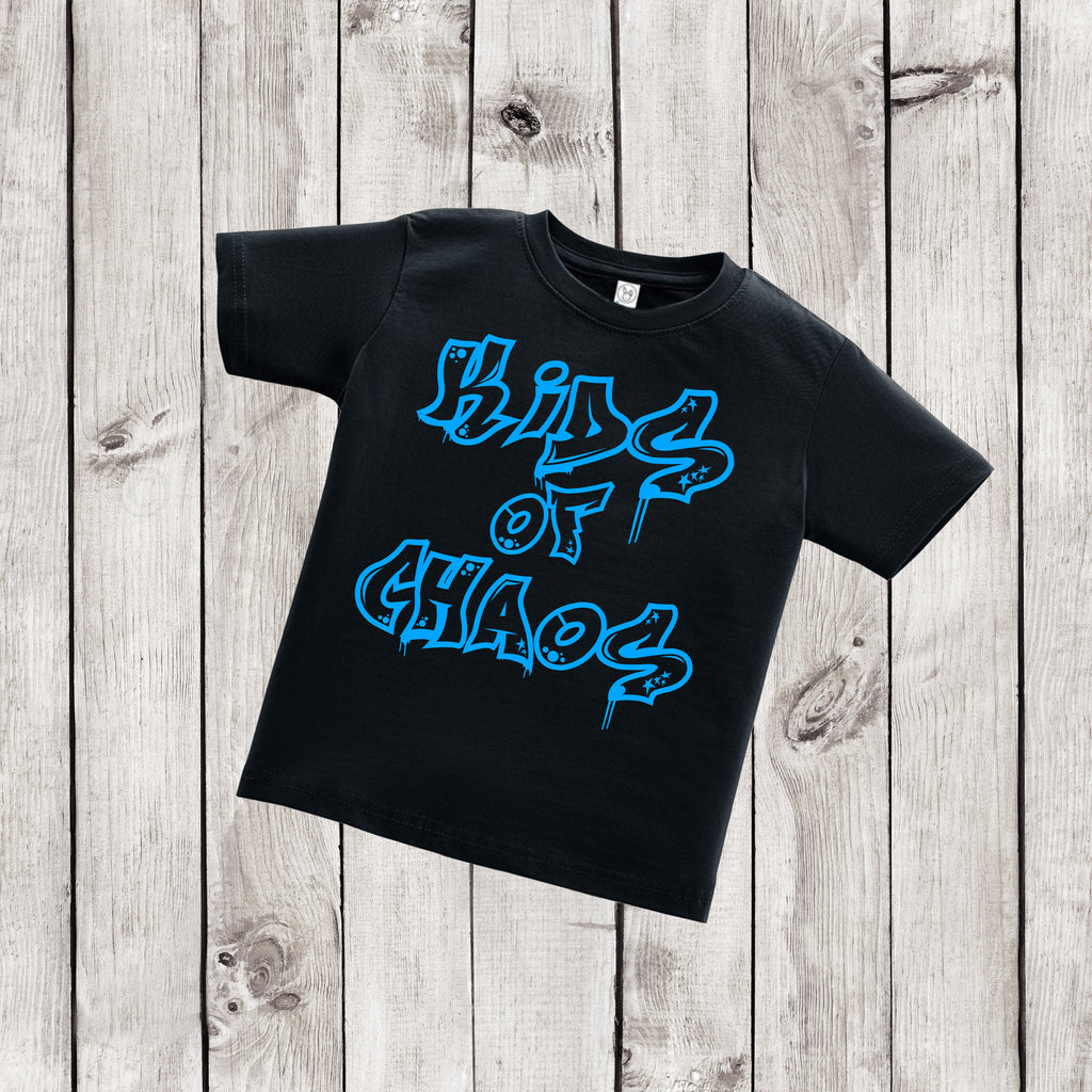 Kids of Chaos - Urban Kids Streetwear - Black and Blue Shirt - Graffiti Shirt - Rebels and Roses Boutique