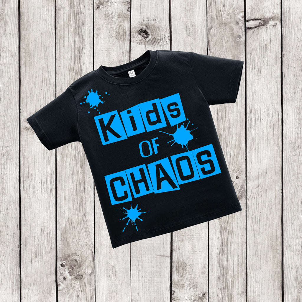Kids of Chaos - Urban Kids Streetwear - Black and Blue Shirt - Rebels and Roses Boutique