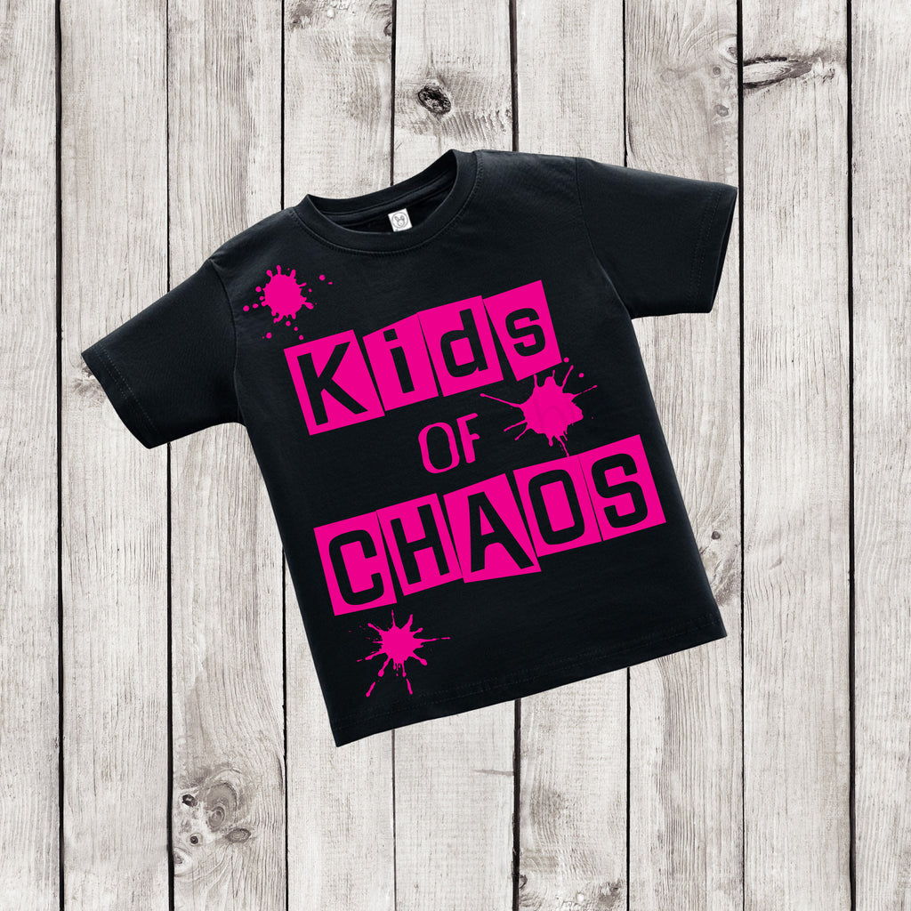Kids of Chaos - Urban Kids Streetwear - Black and Pink Shirt - Rebels and Roses Boutique