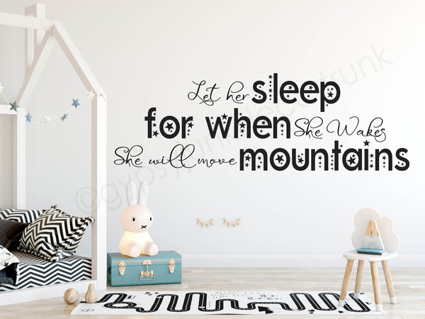 Let Her Sleep - Girls Room Wall Decals - Nursery Room Decor - Gypsy Junk Clothing Trunk