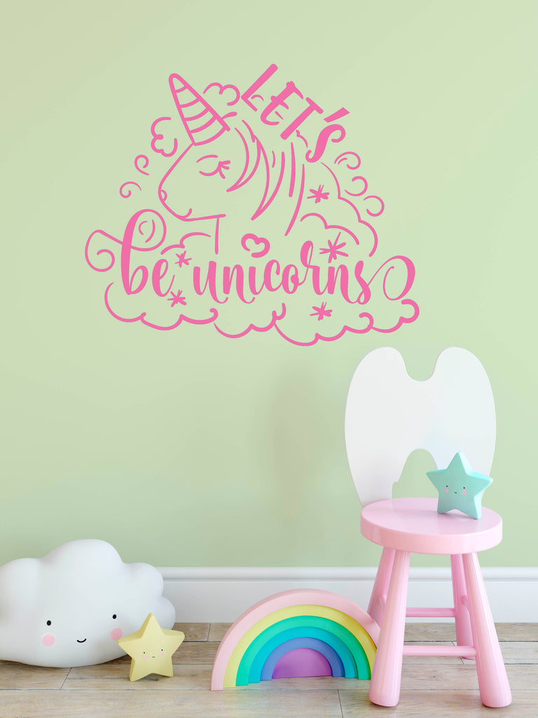 Let's Be Unicorns - Girls Room Unicorn Wall Decals - Rebels and Roses Boutique
