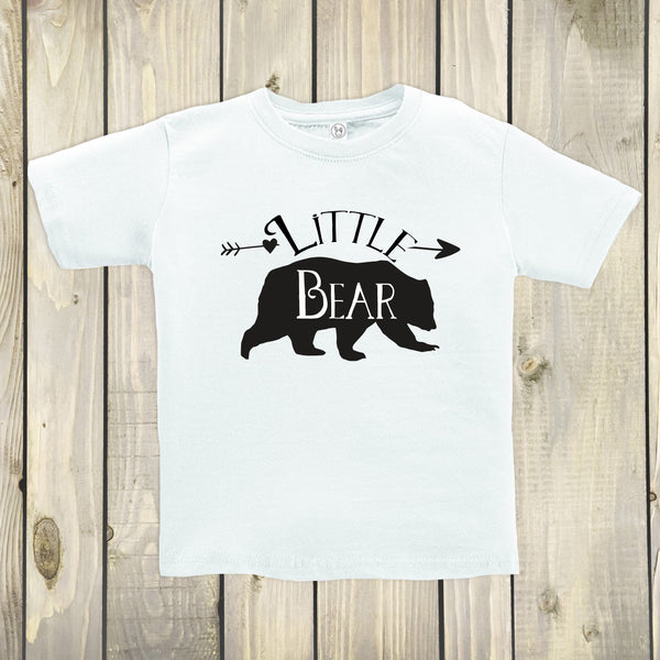 Little Bear White Crew Neck - Bear Tops for Kids - Rebels and Roses Boutique