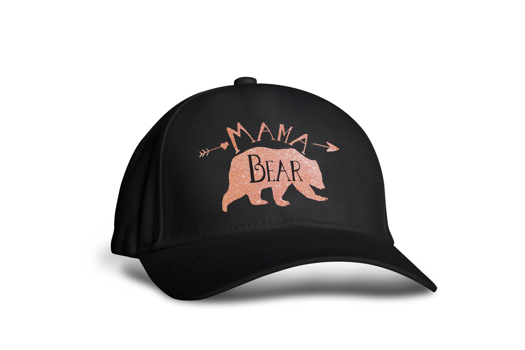 Mama Bear Black and Rose Gold Hat