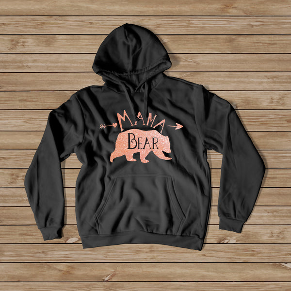 Mama Bear Rose Gold Hoodie - Women's Hoodie - Rebels and Roses Boutique