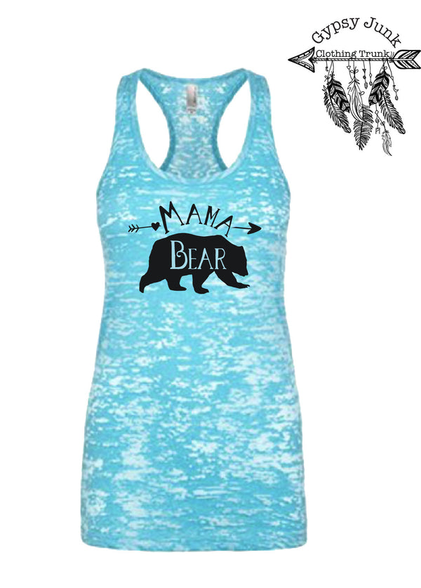Mama Bear Blue Burnout Tank - Mama Bear Tank Top - Gypsy Junk Clothing Trunk