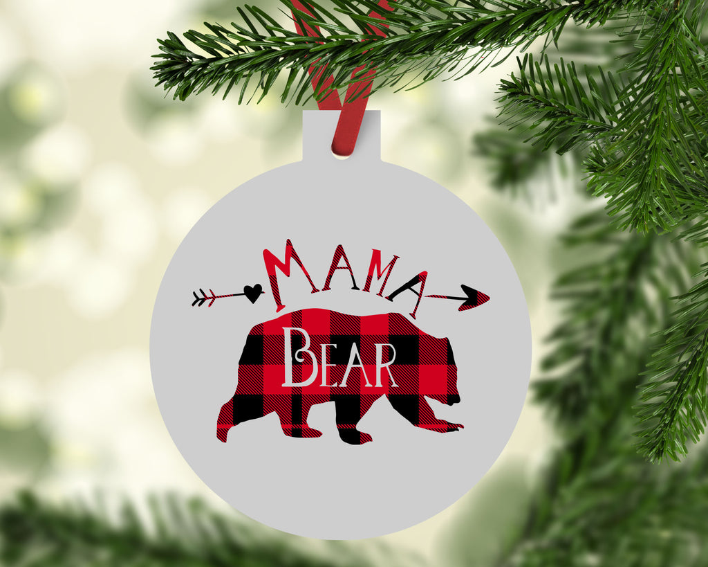 Mama Bear Buffalo Plaid Ornament