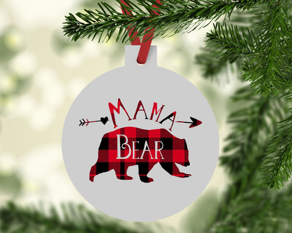 Mama Bear Buffalo Plaid Christmas Ornament - Rebels and Roses Boutique