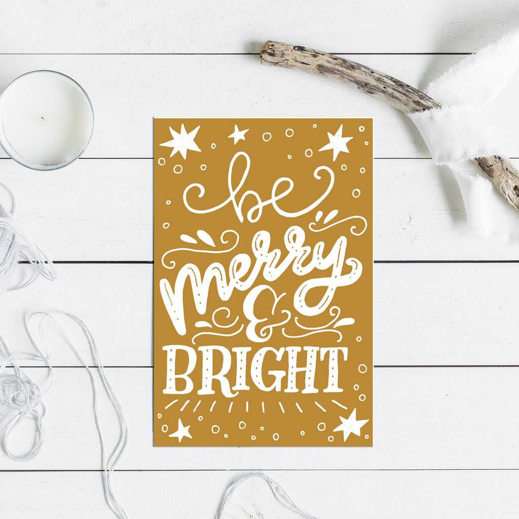 Merry and Bright Christmas Greetings - Christmas Card - Rebels and Roses Boutique