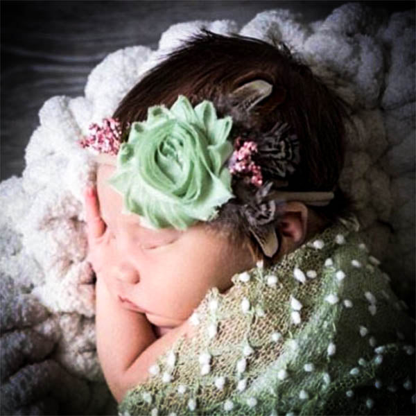 Mint Chiffon Floral and Feathered Baby Headband - Rebels and Roses Boutique
