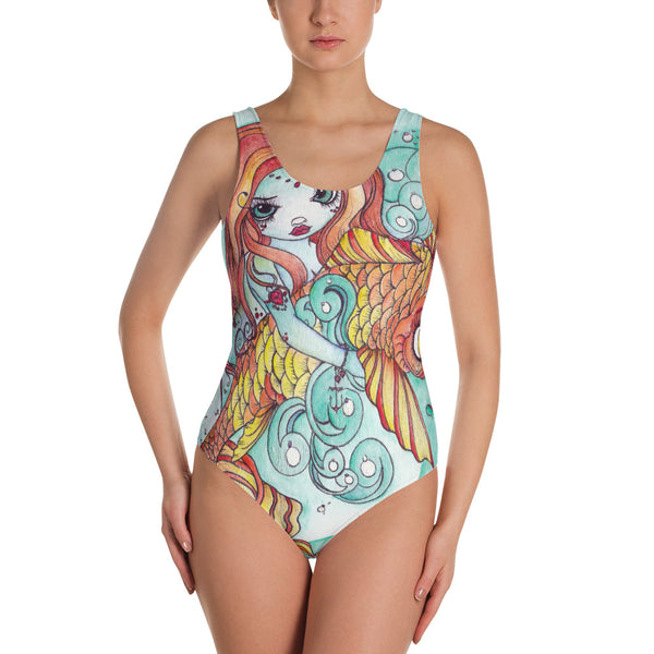 Mermaid Koi Print Bathing Suit - Women's Swimsuit - Gypsy Junk Clothing Trunk