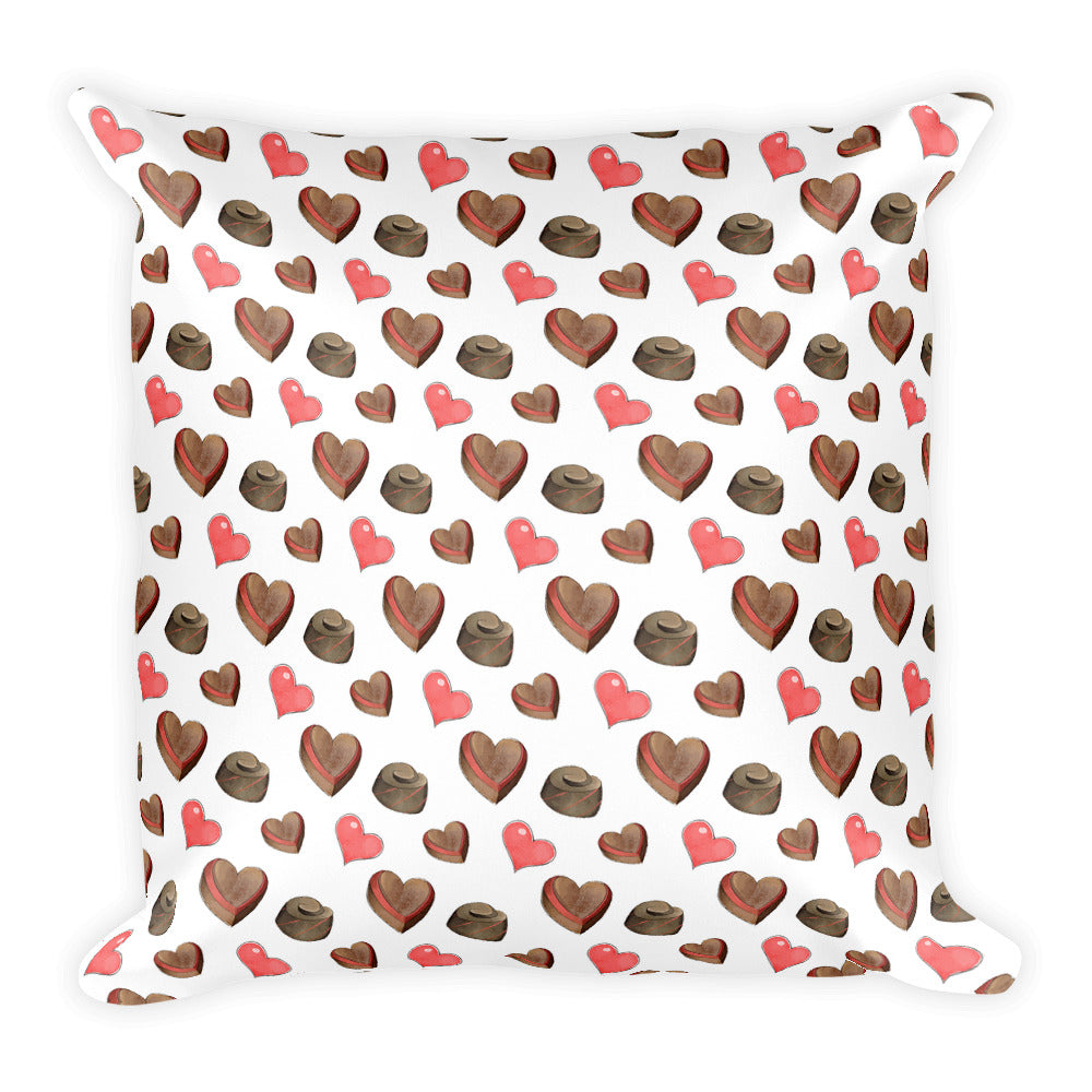 Heart Print Square Pillow - Valentines Decor - Rebels and Roses Boutique