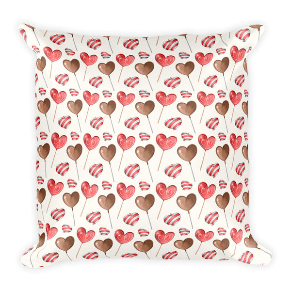 Lollipop Pillow - Heart Pillow - Square Valentines Pillow - Rebels and Roses Boutique