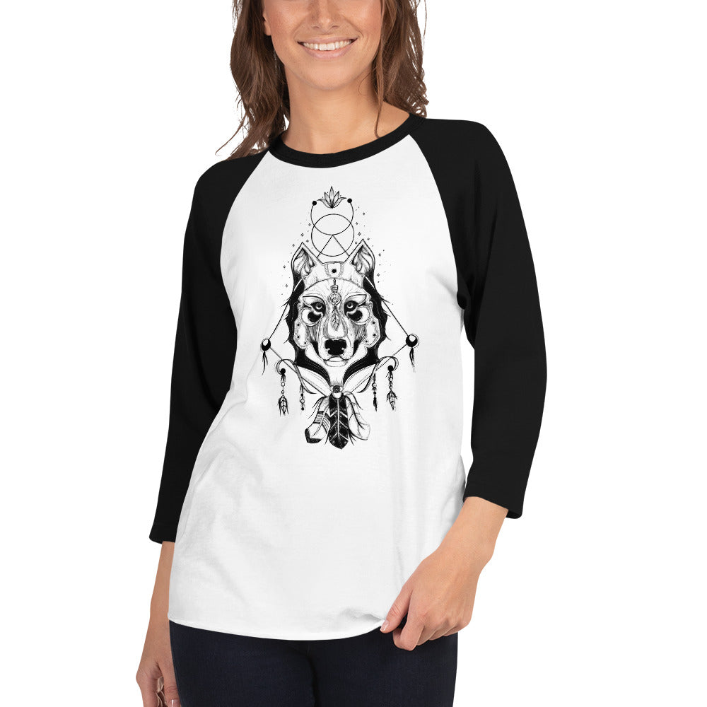 Ethereal Wolf Warrior Raglan Shirt - Rebels and Roses Boutique