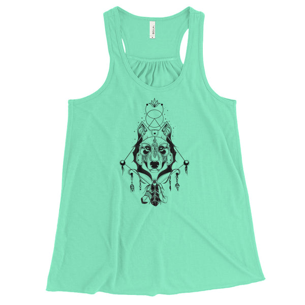 Ethereal Wolf Warrior - Flowy Racerback Tank - Rebels and Roses Boutique
