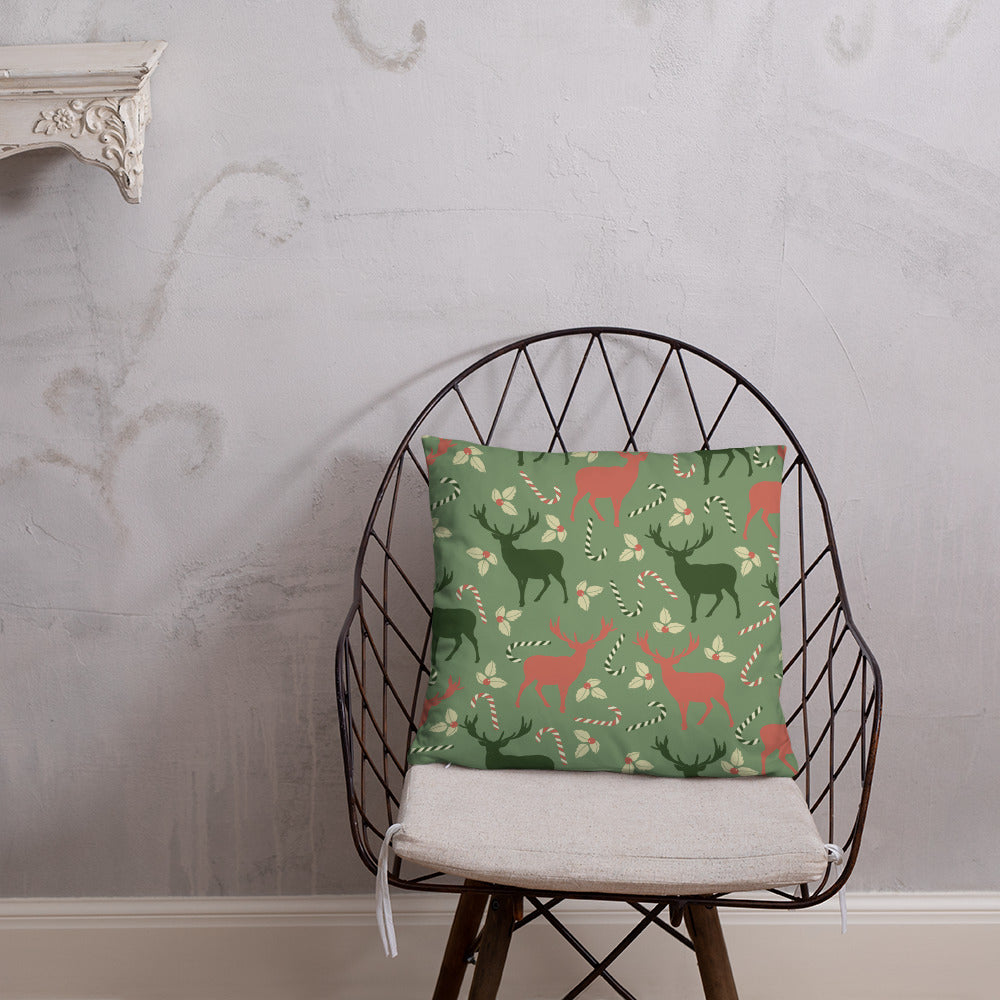 Christmas Throw Pillow - Reindeer Throw Pillow - Rebels and Roses Boutique