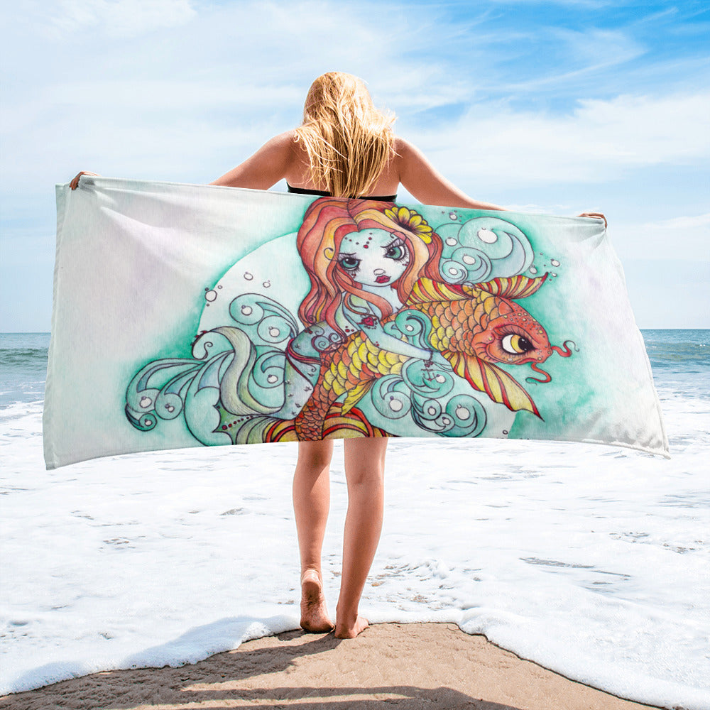 Mermaid and Koi Beach Towel - Rebels and Roses Boutique