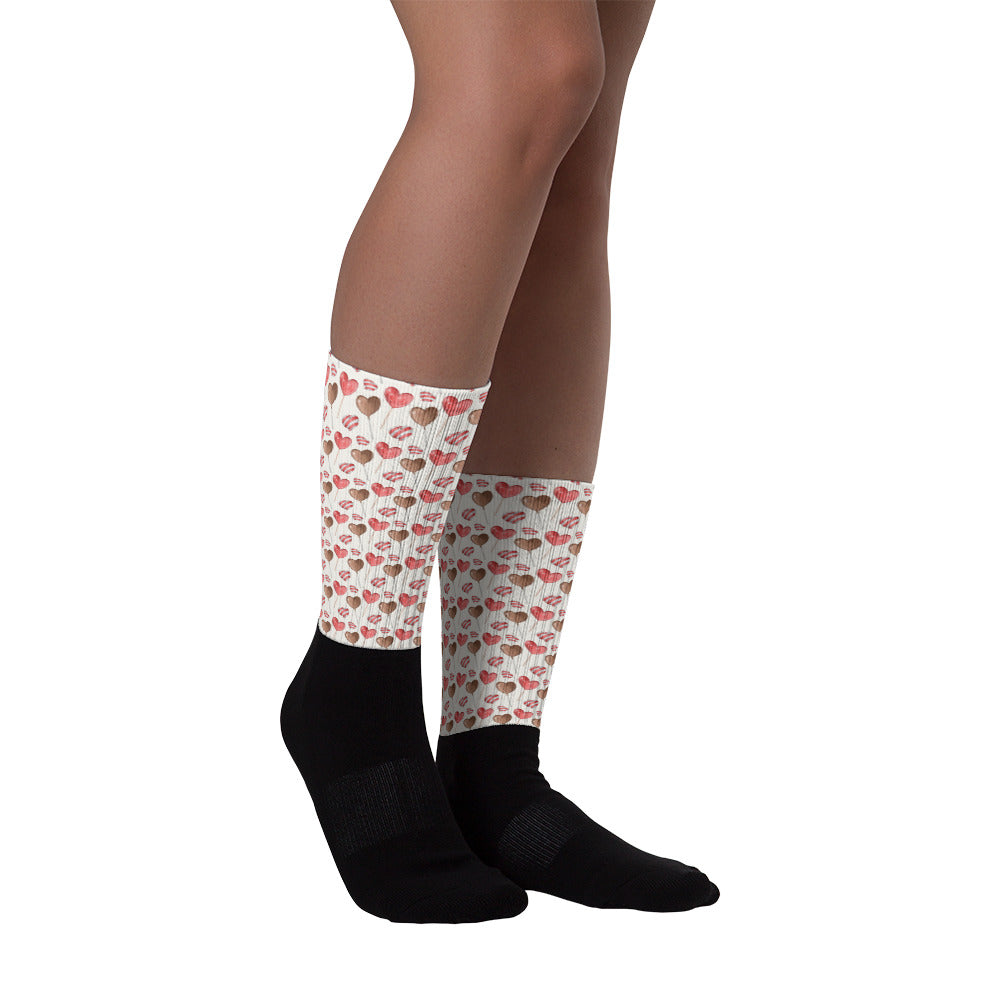 Heart Printed Socks - Rebels and Roses Boutique