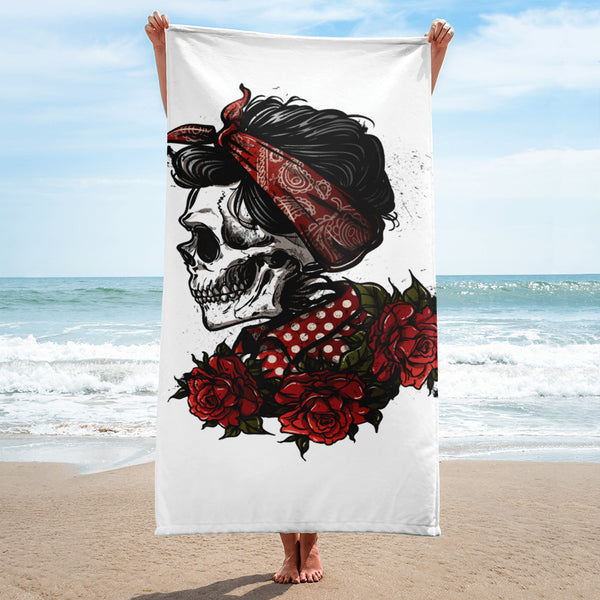 Rockabilly Skull Beach Towel