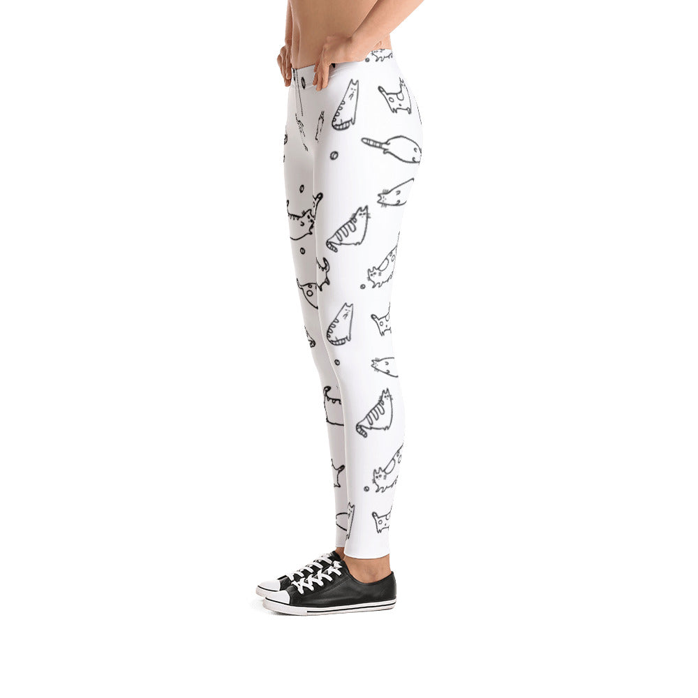 Cat Print Leggings for Women - Rebels and Roses Boutique