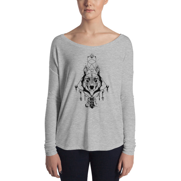 Ethereal Wolf Warrior Slouchy Long Sleeve Tee - Rebels and Roses Boutique