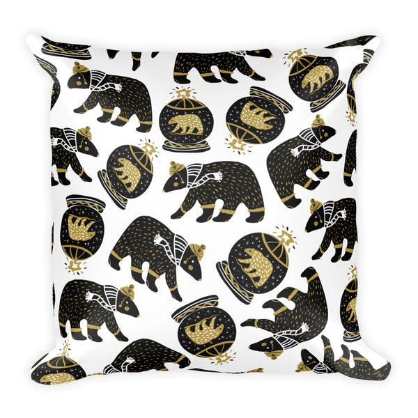 Winter Bear Decorative Square Pillow - Black and Gold Pillow
