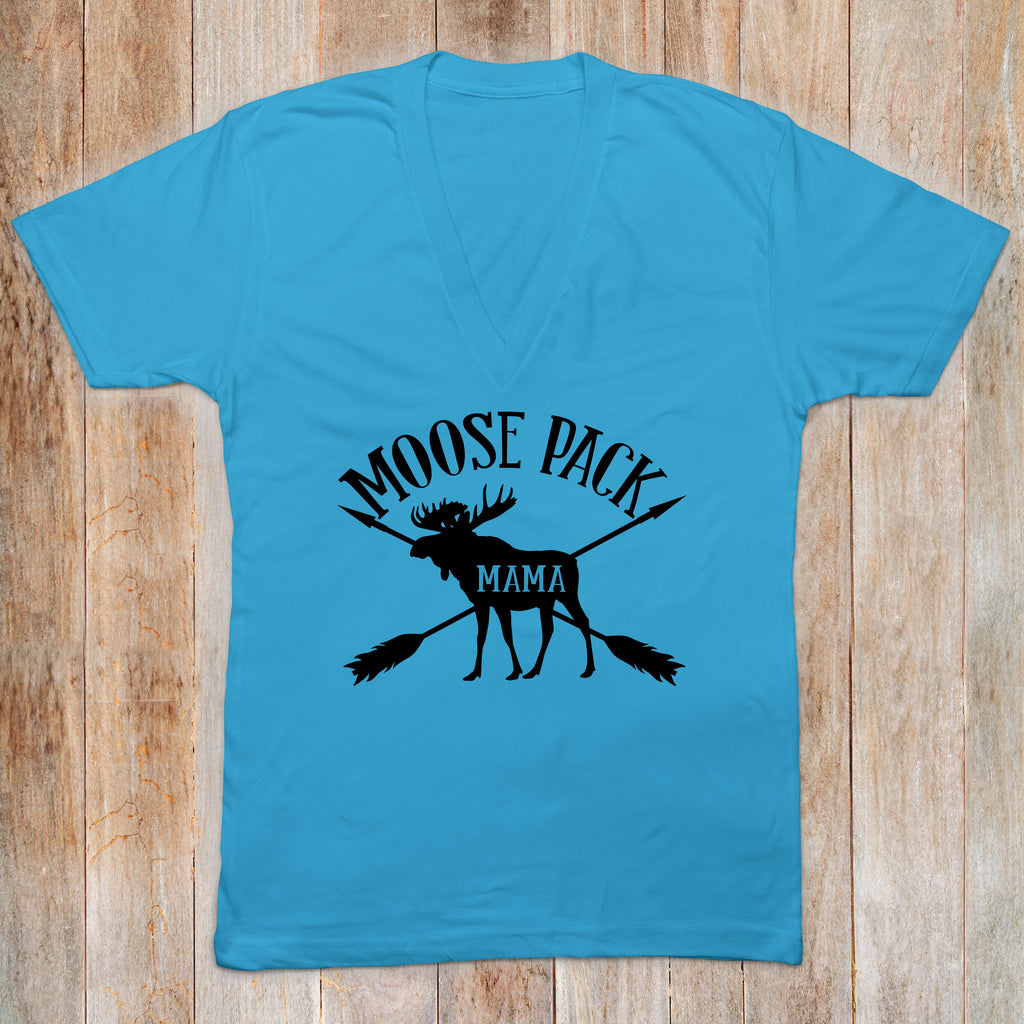 Moose Pack Mama Blue VNeck Moose Pack Top - Rebels and Roses Boutique